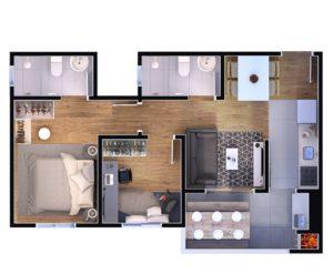 2 dormitórios - suíte