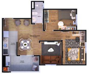 3 Dormitórios - opção sala estendida
